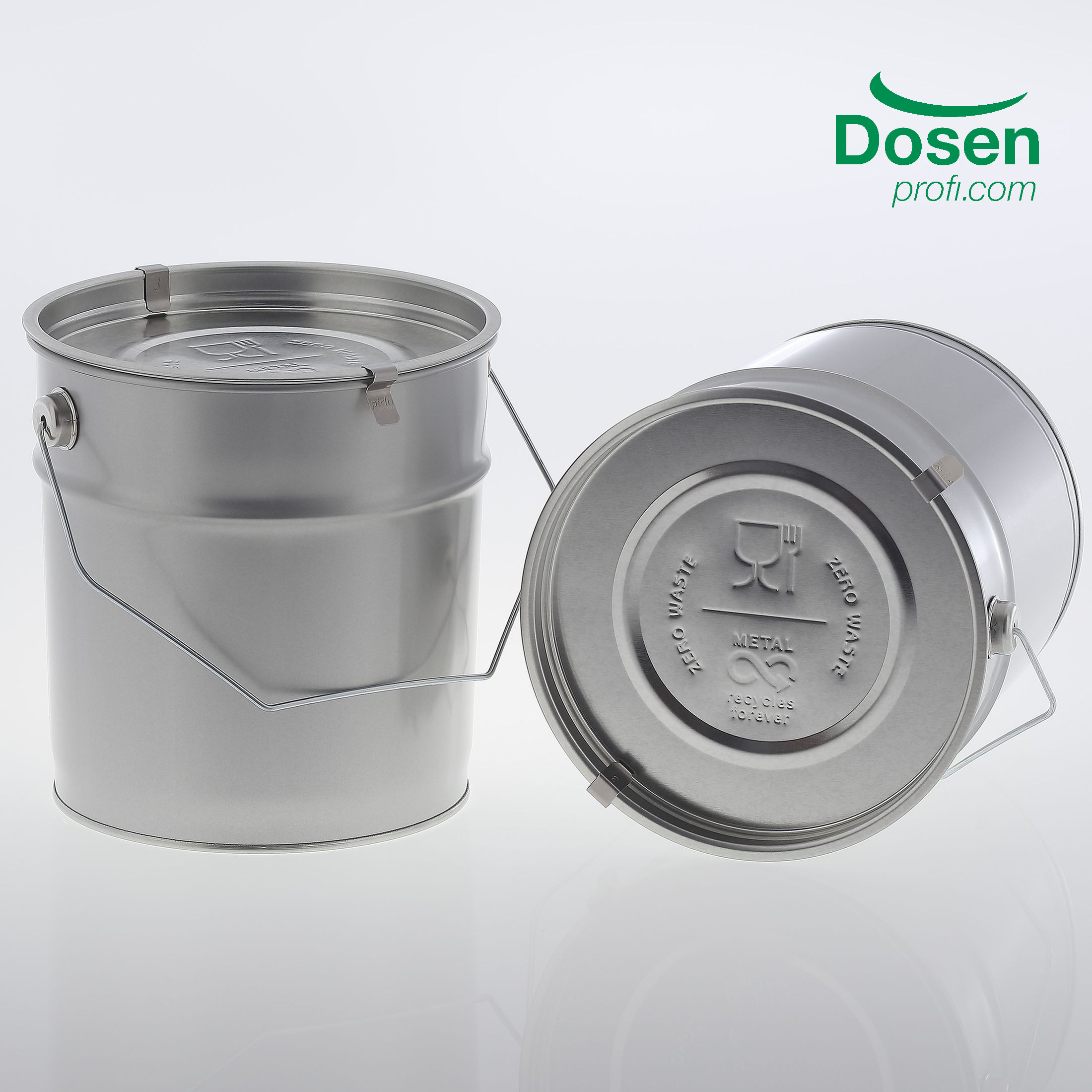 ZERO WASTE Metal pail 3 litre food safe with lid embossing