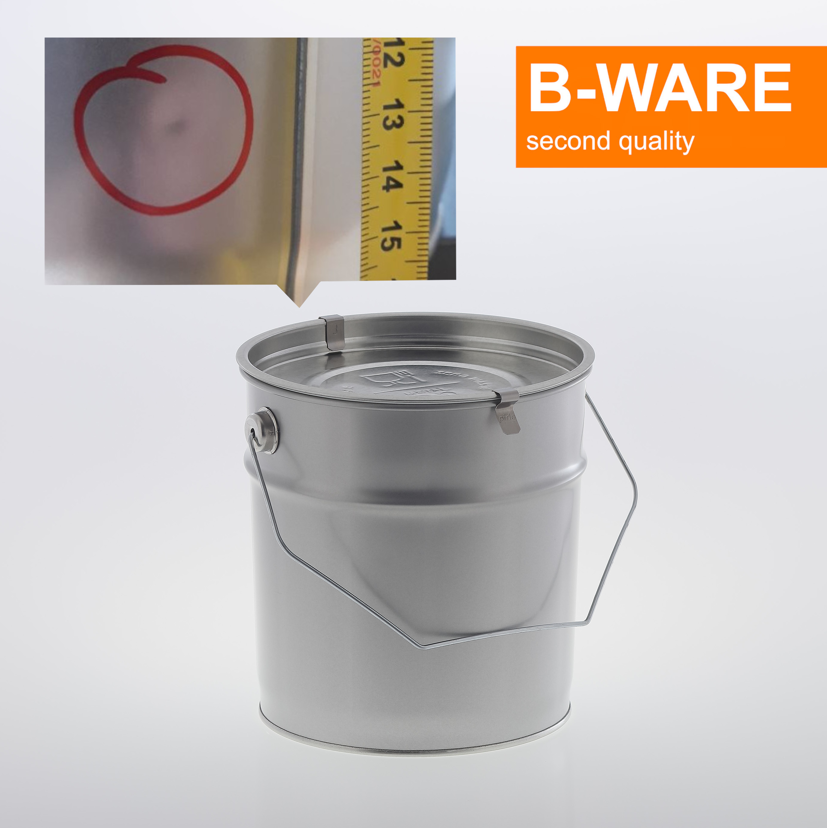 !SECOND QUALITY! ZERO WASTE Metal pail 3 litre food safe with lid embossing